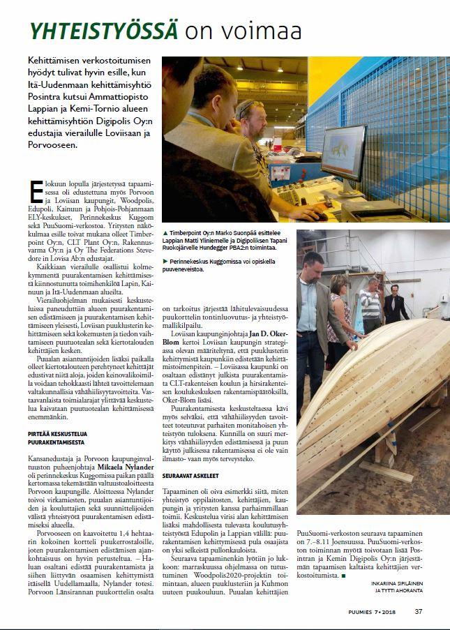 Puumies-lehti, artikkeli puurantamisen kehittämistapaamisesta