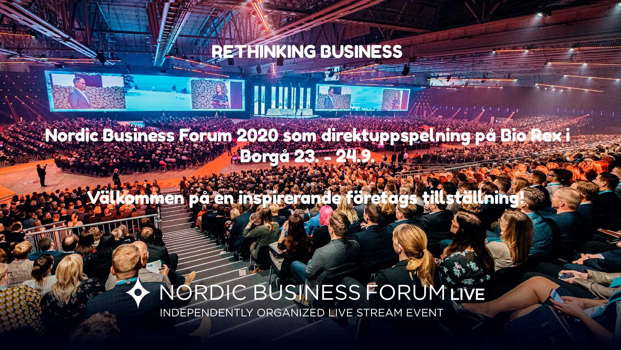 AVBRUTET: Nordic Business Forum 2020 som live stream i Borgå Bio Rex 23.-24.09.