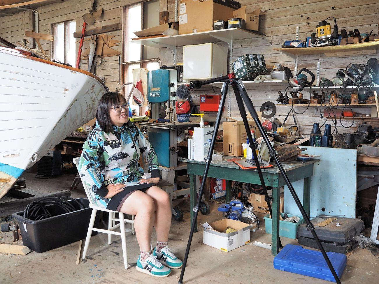 Ednäs varv, Keiko Morishita livelähetyksessä i direktsändning. Kuvaaja: M. Mikkola